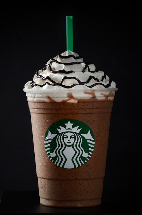 A java chip frappuccino on a black background.