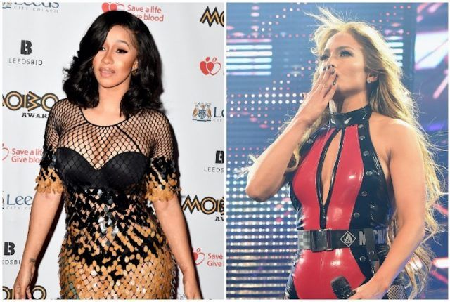 Jennifer Lopez and Cardi B collage.