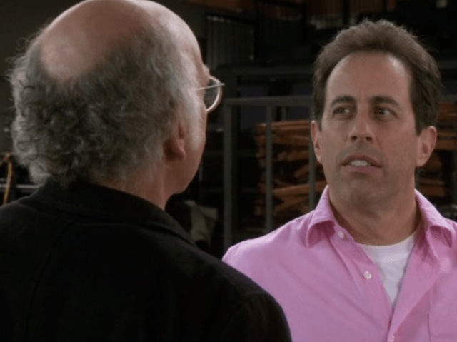 Jerry Seinfeld talking to Larry David.