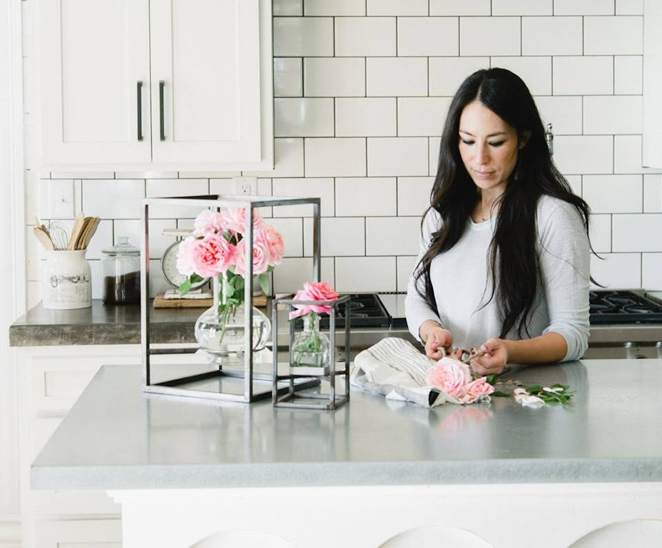Joanna Gaines cutting flowers for vases