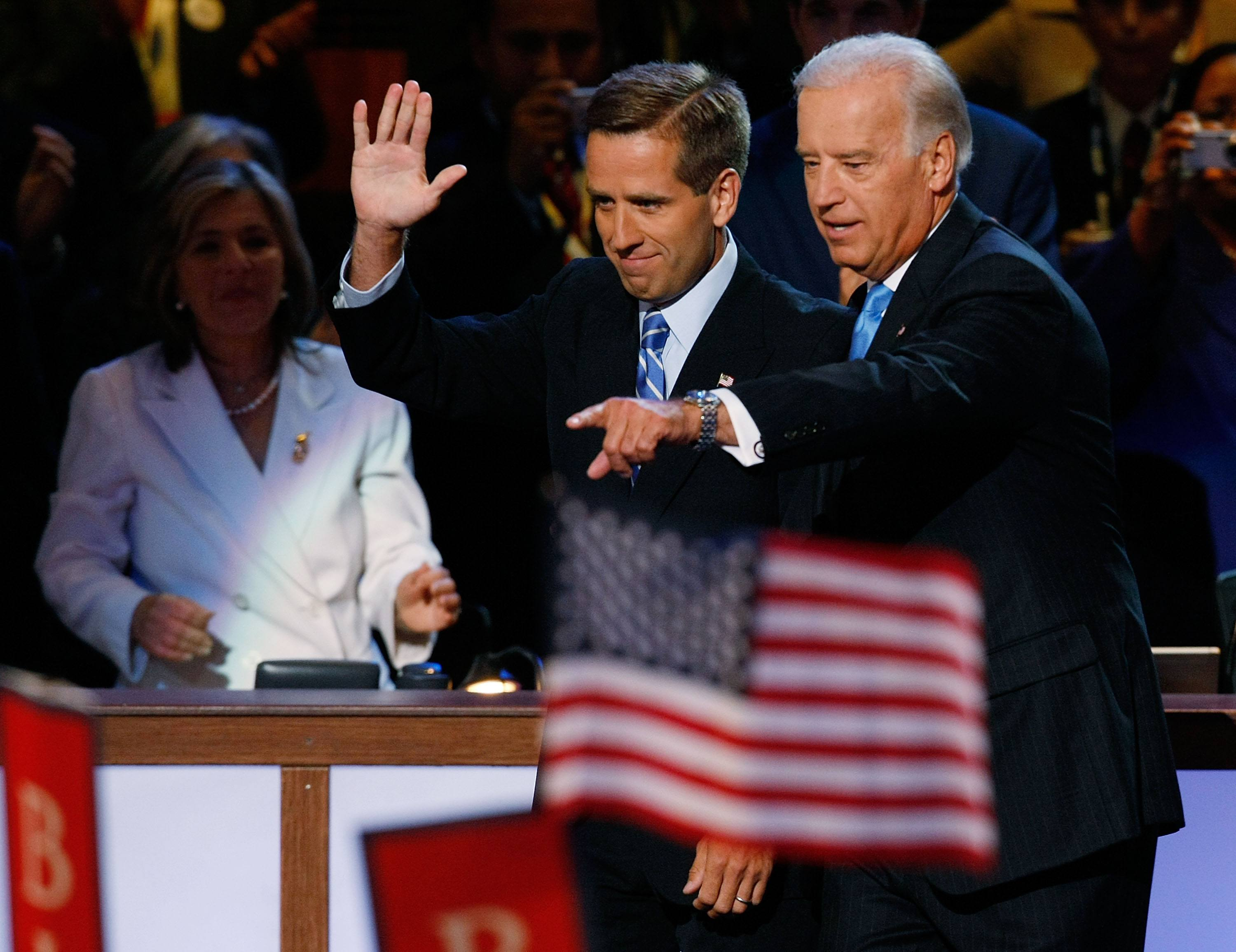 Joe and Beau Biden at the democratic convention