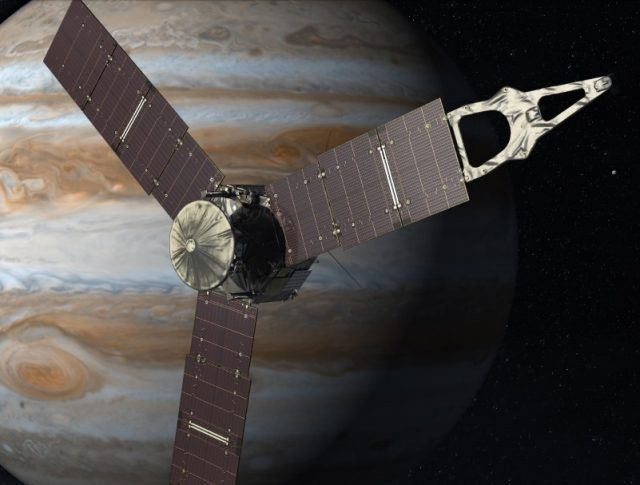 An artists rendering of Juno in outer Jupiter orbit.