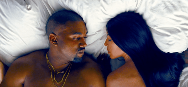 Kanye West and Kim Kardashian in the 'Famous' music video.