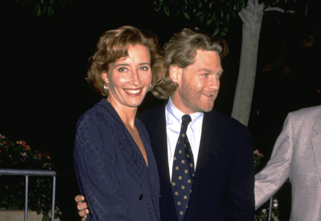 Kenneth Branagh and Emma Thompson at an outdoor event.