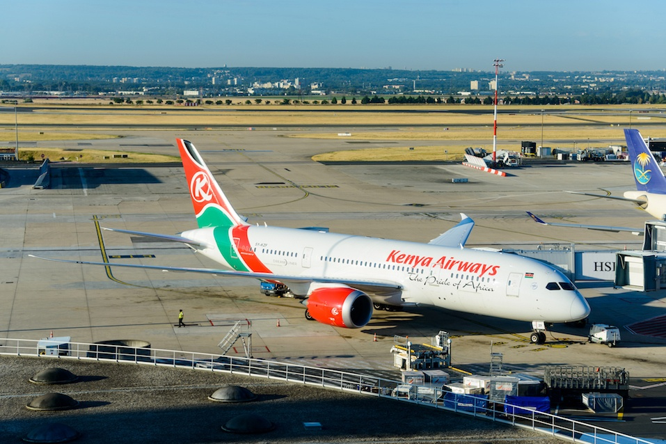 Kenya Airways Boeing 787 at Roissy Airport, France