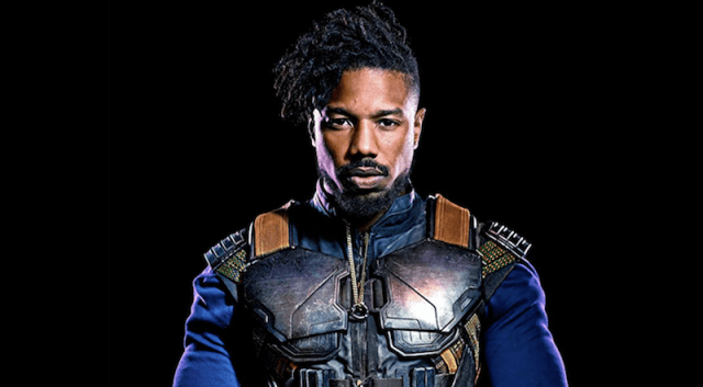 Michael B. Jordan in front of a black background.