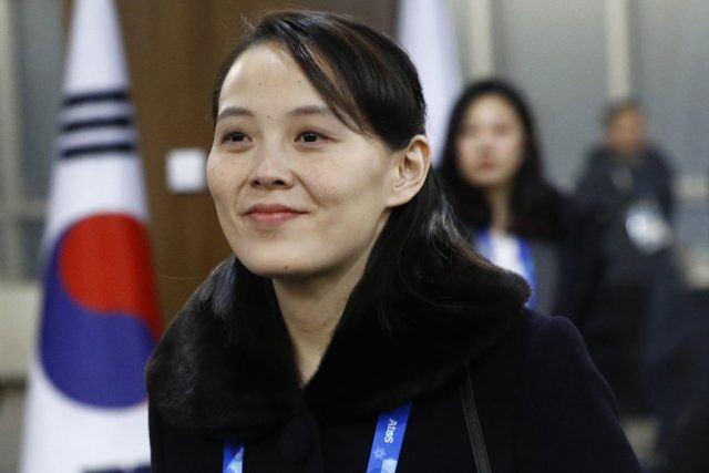Kim Yo Jong smiling while at the Olympics.