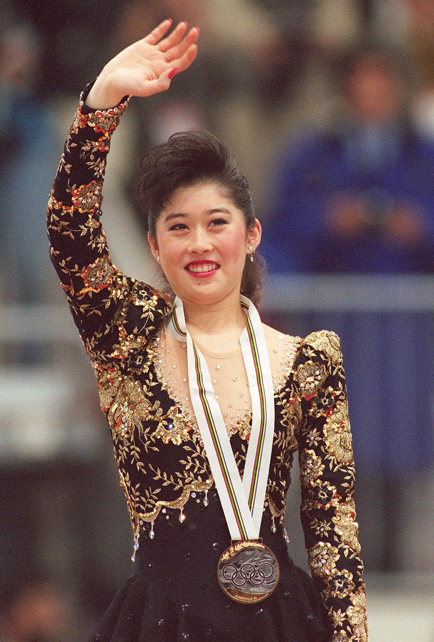 Kristi Yamaguchi receives a medal