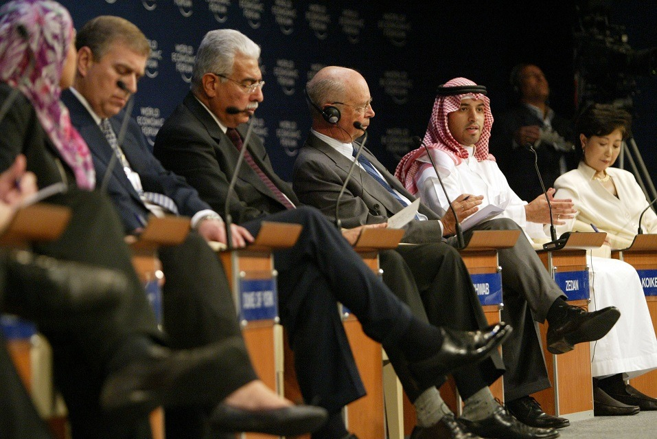 A Saudi participant speaks during the closing session of the World Economic Forum