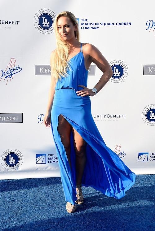 Lindsey Vonn in a blue gown.