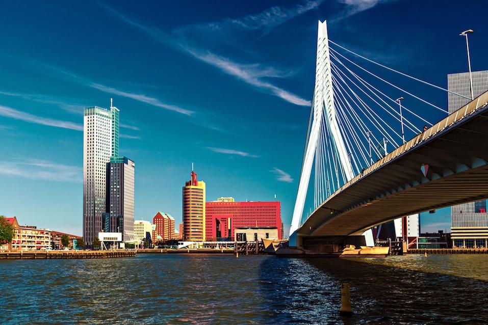 Lomograph view on Erasmus Bridge in Rotterdam