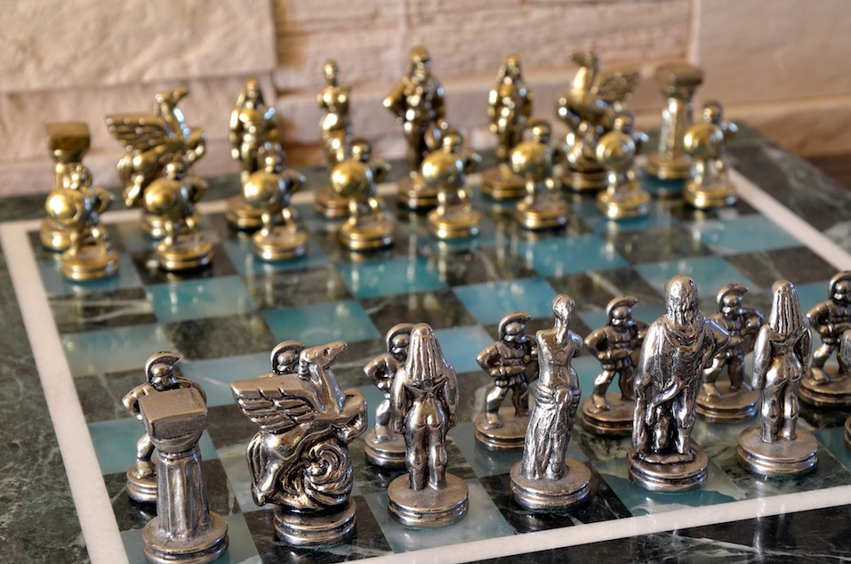 Marble chess set with silver and gold figurines
