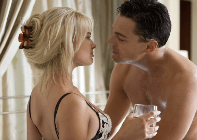 Margot Robbie and Leonardo DiCaprio during a scene in 'The Wolf of Wall Street'.