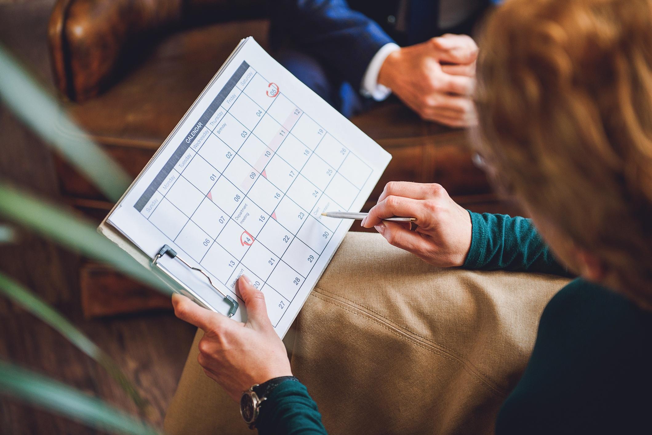 Writing on a calendar