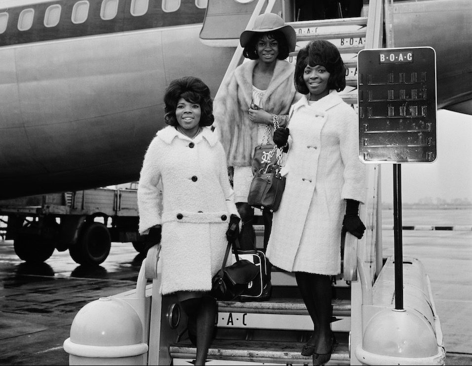 American Motown vocal group Martha And The Vandellas arriving at London Airport