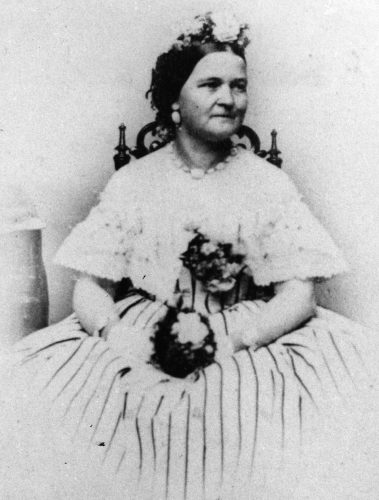 Mary Todd Lincoln in a black and white portrait.