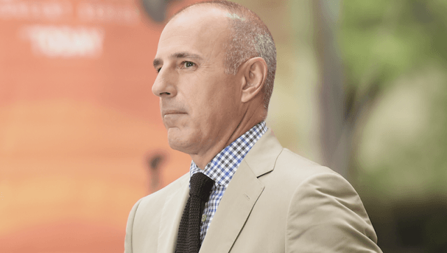 Matt Lauer looking straight ahead while wearing a tan suit.