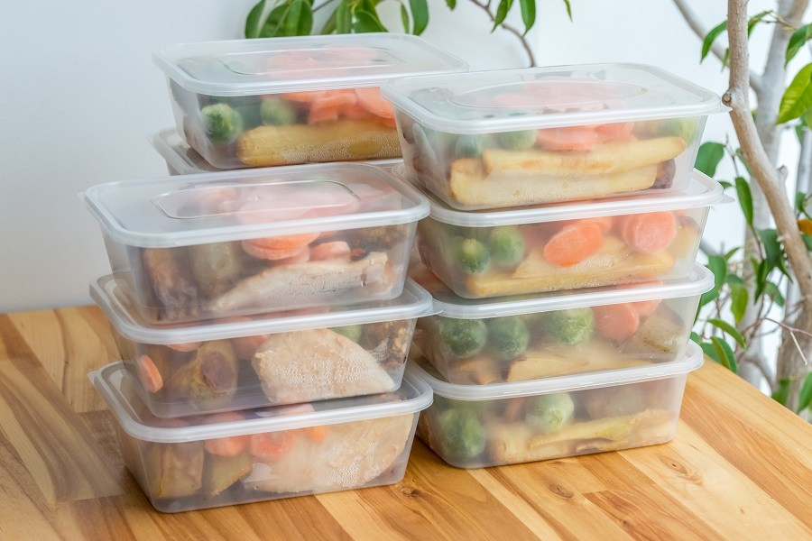 Stack of dinners in containers for later use.
