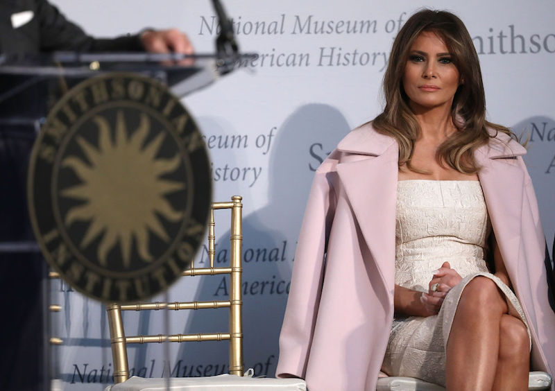 Melania Trump sitting in the National Museum of American History