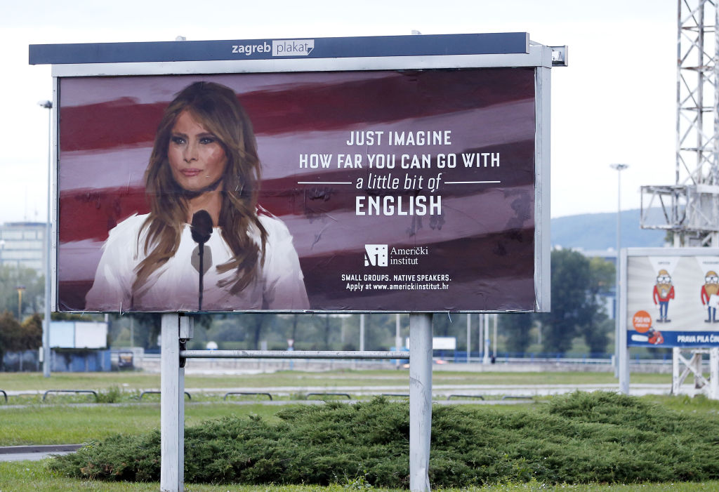 Billboard featuring Melania Trump