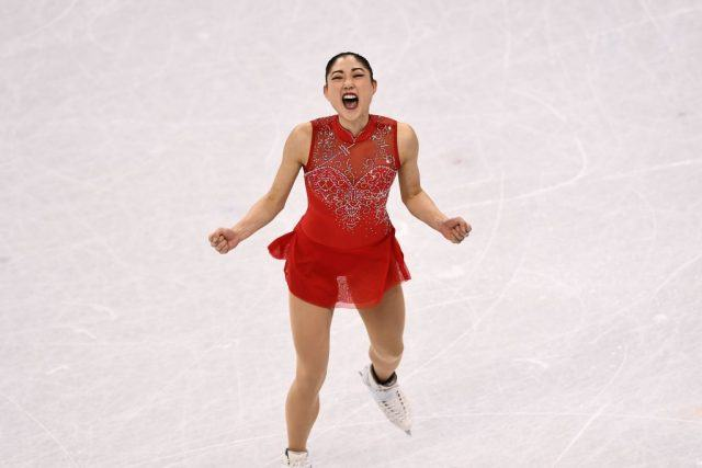 USA's Mirai Nagasu competes in the figure skating team event.