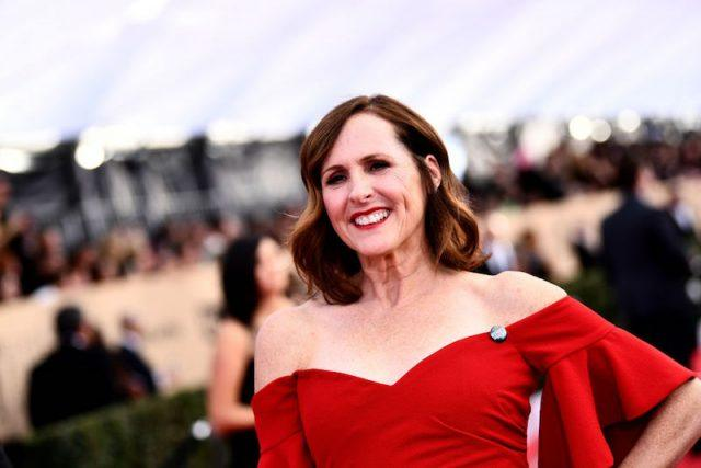 Molly Shannon smiling and posing in a red dress.
