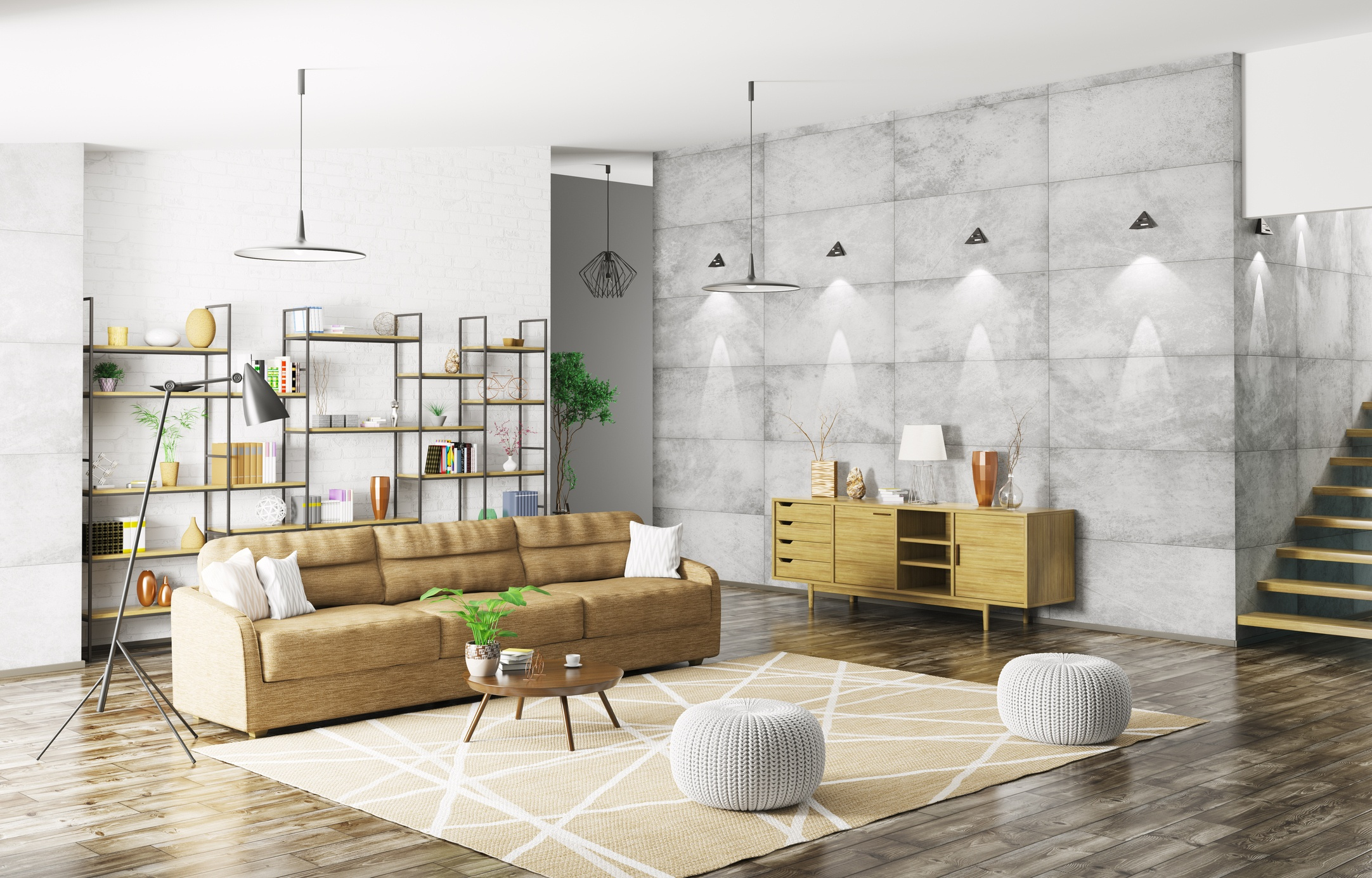 Modern living room with moroccan poufs
