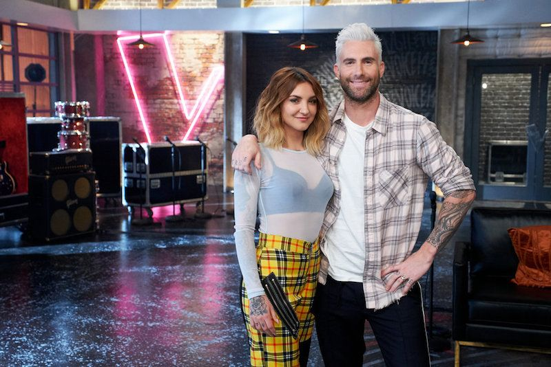 "THE VOICE -- ""Battle Reality"" -- Pictured: (l-r) Julia Michaels, Adam Levine -- (Photo by: Tyler Golden/NBC)"