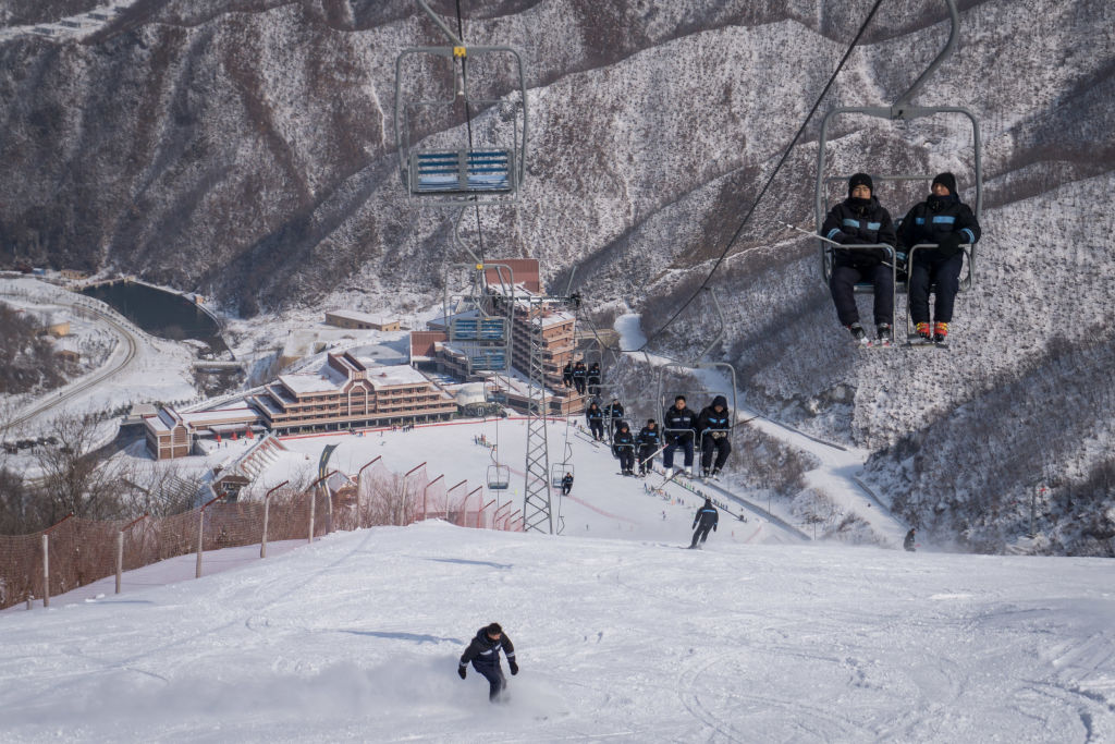 Ski lift at North Korean resort
