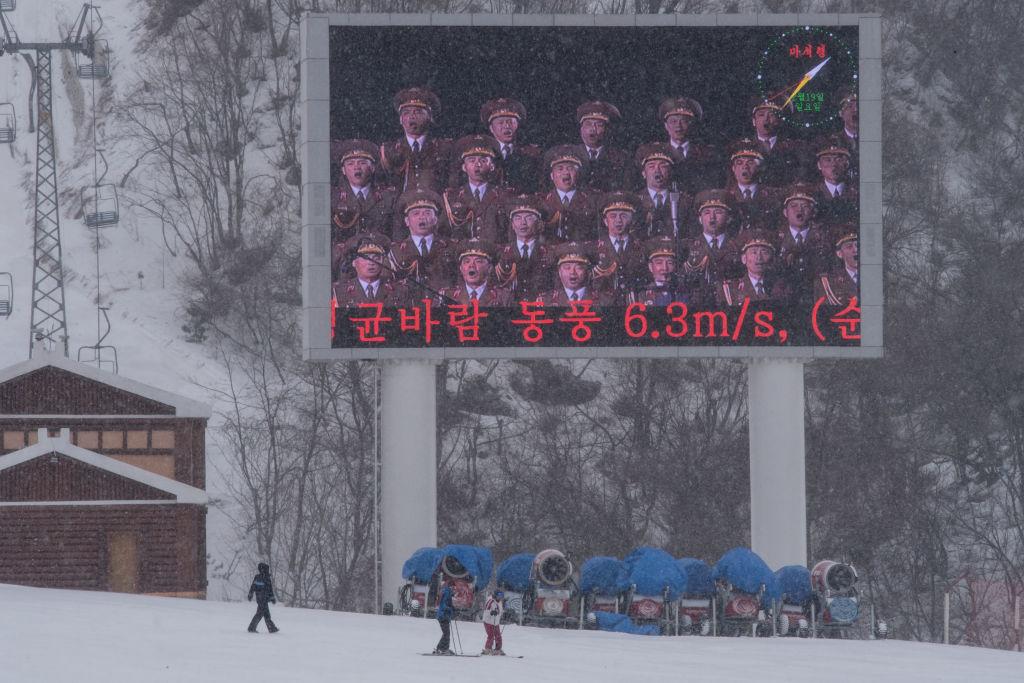Giant propaganda screen at North Korean ski resort