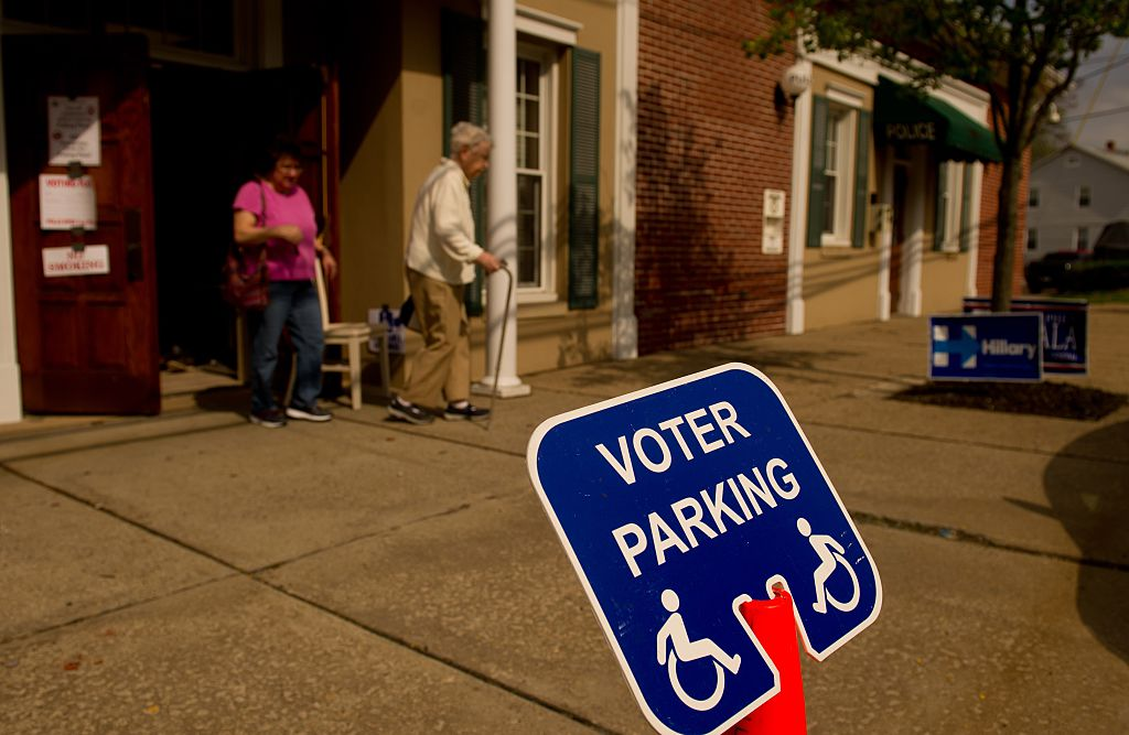 Voters walk to their polling stations to vote in the primary election on April 26, 2016 in Oakmont, Pennsylvania
