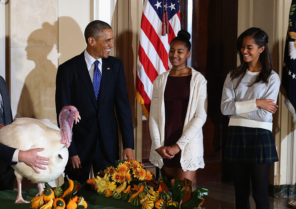 President Obama Pardons National Thanksgiving Turkey At Annual Ceremony with Sasha and Malia