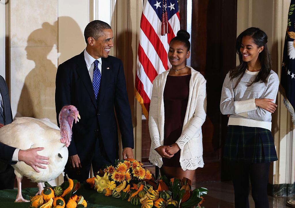 President Obama Pardons National Thanksgiving Turkey At Annual Ceremony with Sasha and Malia