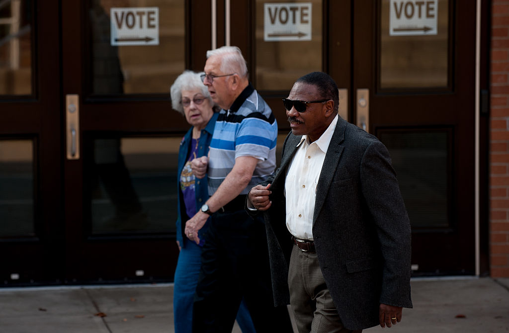 Voters leave the polls after voting in the presidential election on November 8, 2016 in OHIO.