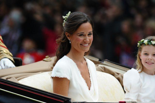 Pippa Middleton smiling on her sister's wedding day.