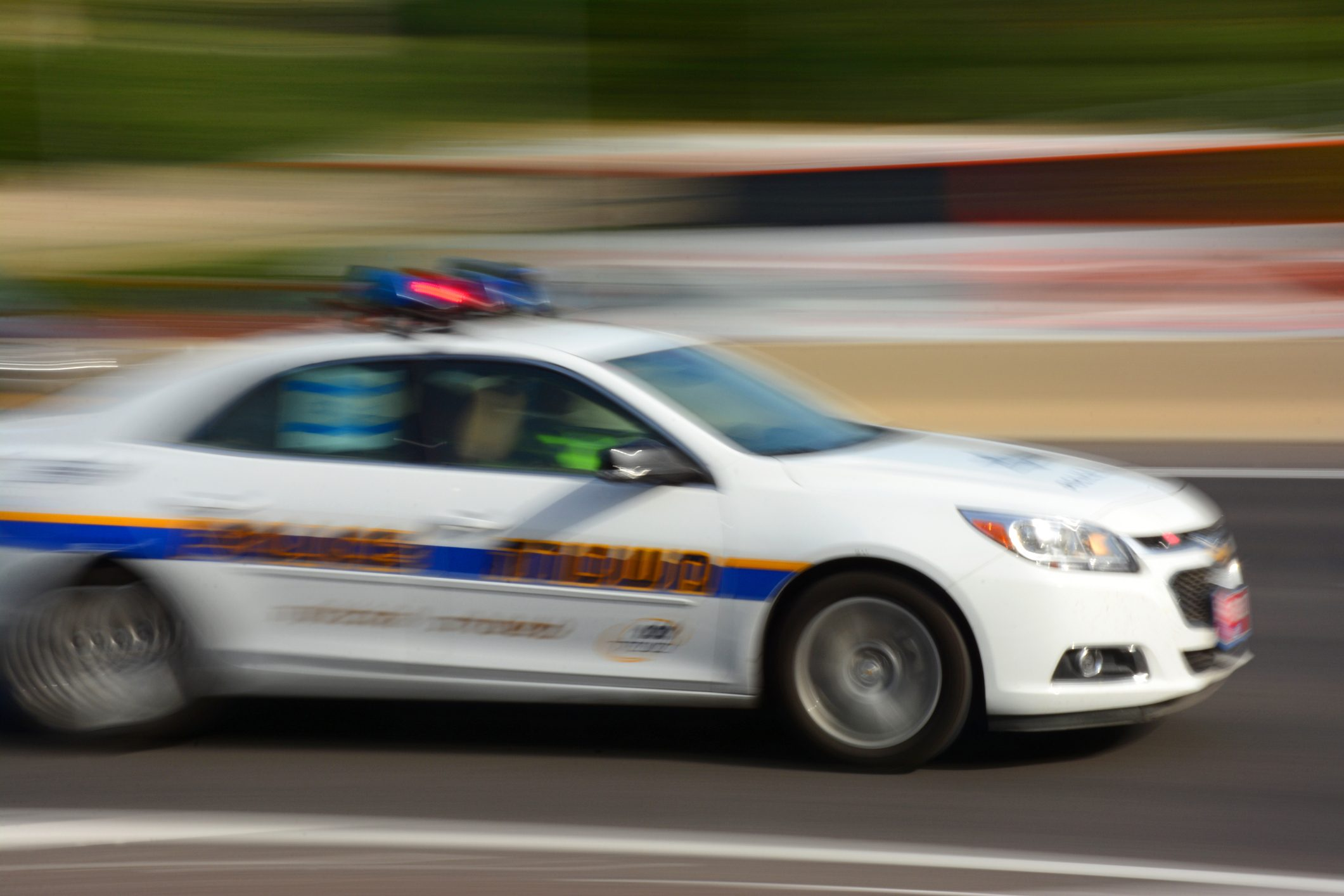 Police car in motion