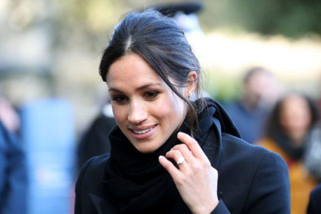 Meghan Markle arrives to a walkabout at Cardiff Castle.