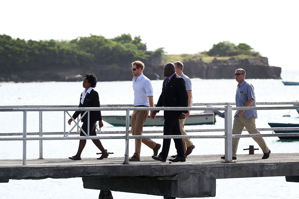 Prince Harry arrives to Charlestown Dock on the Island of Nevis