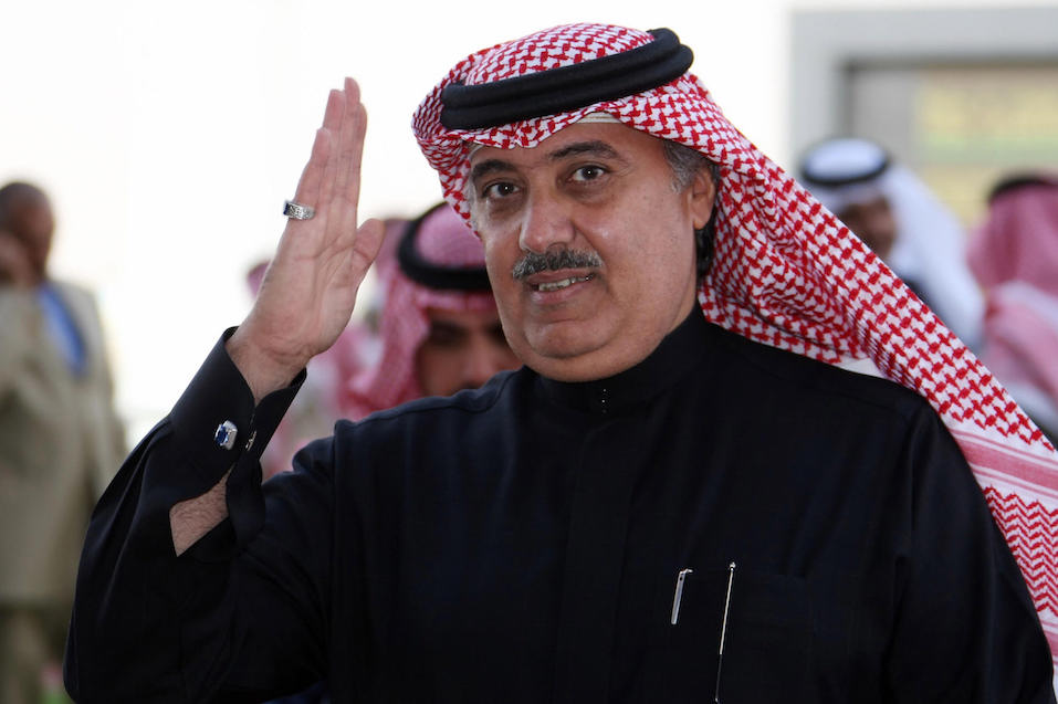 Prince Miteb bin Abdul Aziz, son of Saudi King Abdullah bin Abdul Aziz, gestures as he leaves the equestrian club