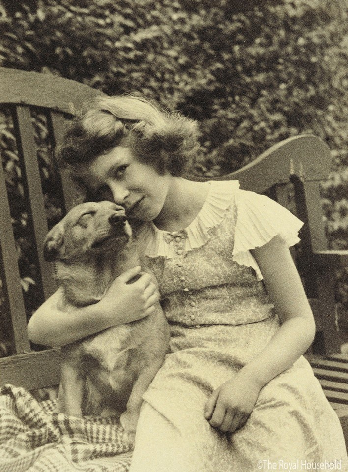 Queen Elizabeth young with her Corgi