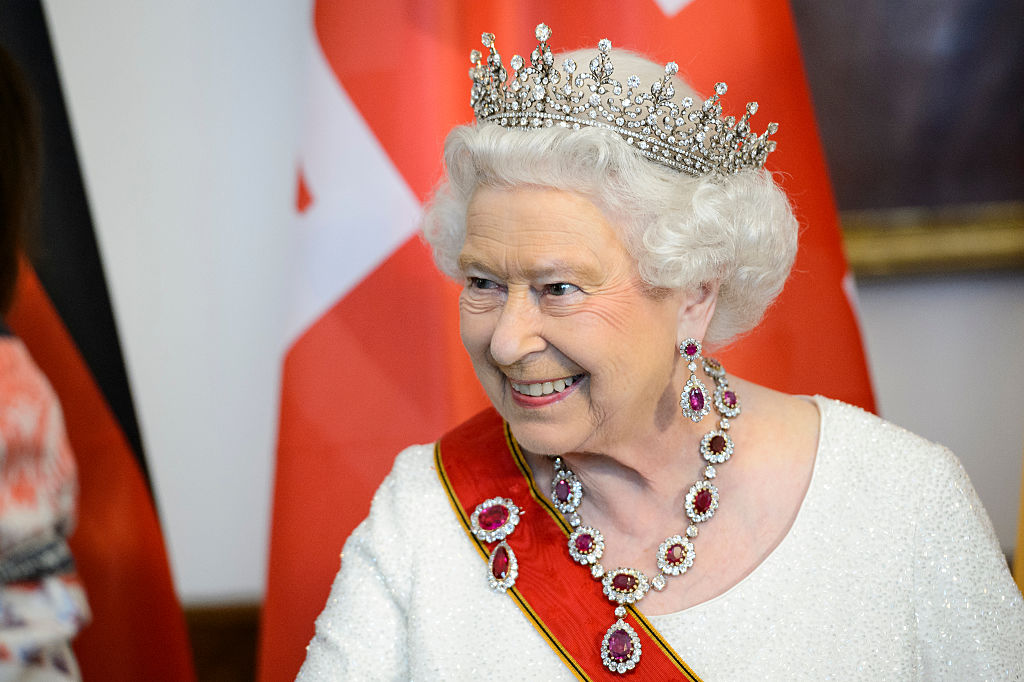 Queen Elizabeth II attends a State Banquet on day in Berlin