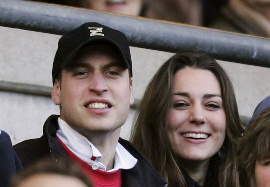 Prince William (L) and Kate Middleton (R) watch the action during the RBS Six Nations Championship match