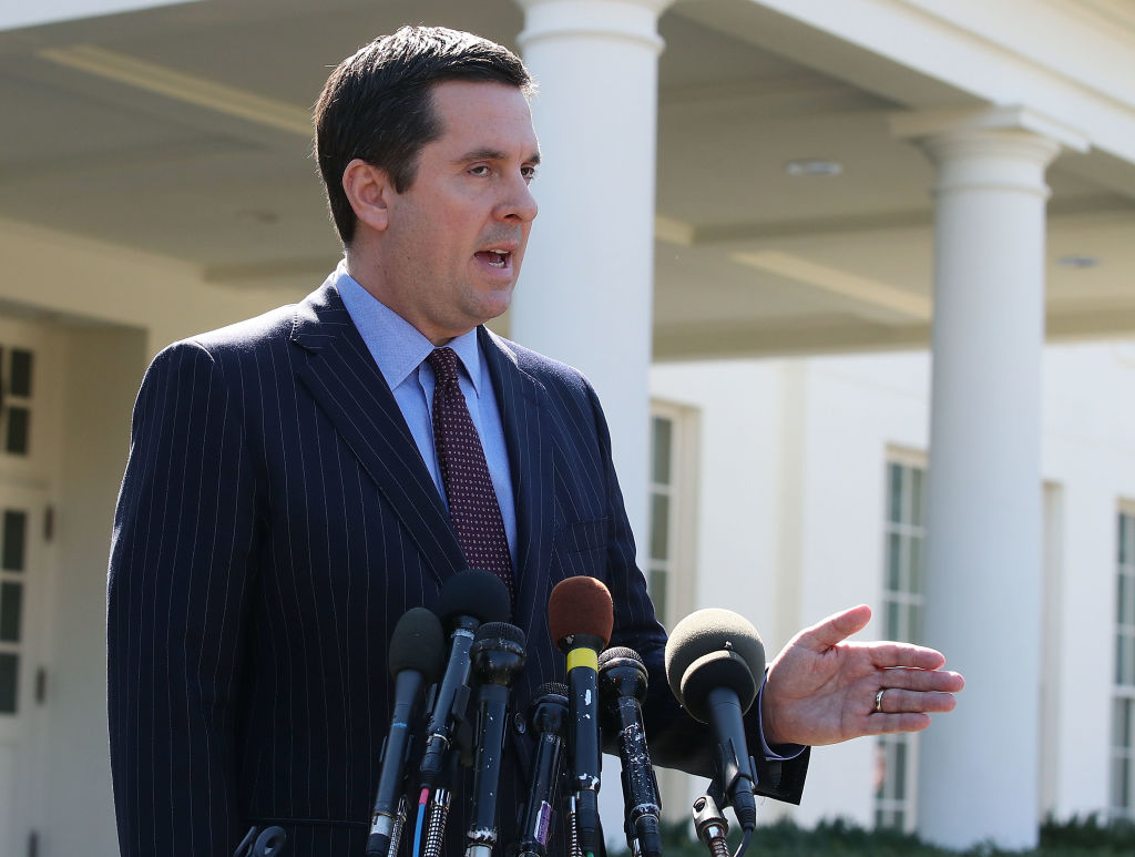Chairman Devin Nunes speaks to reporters after a meeting at the White House