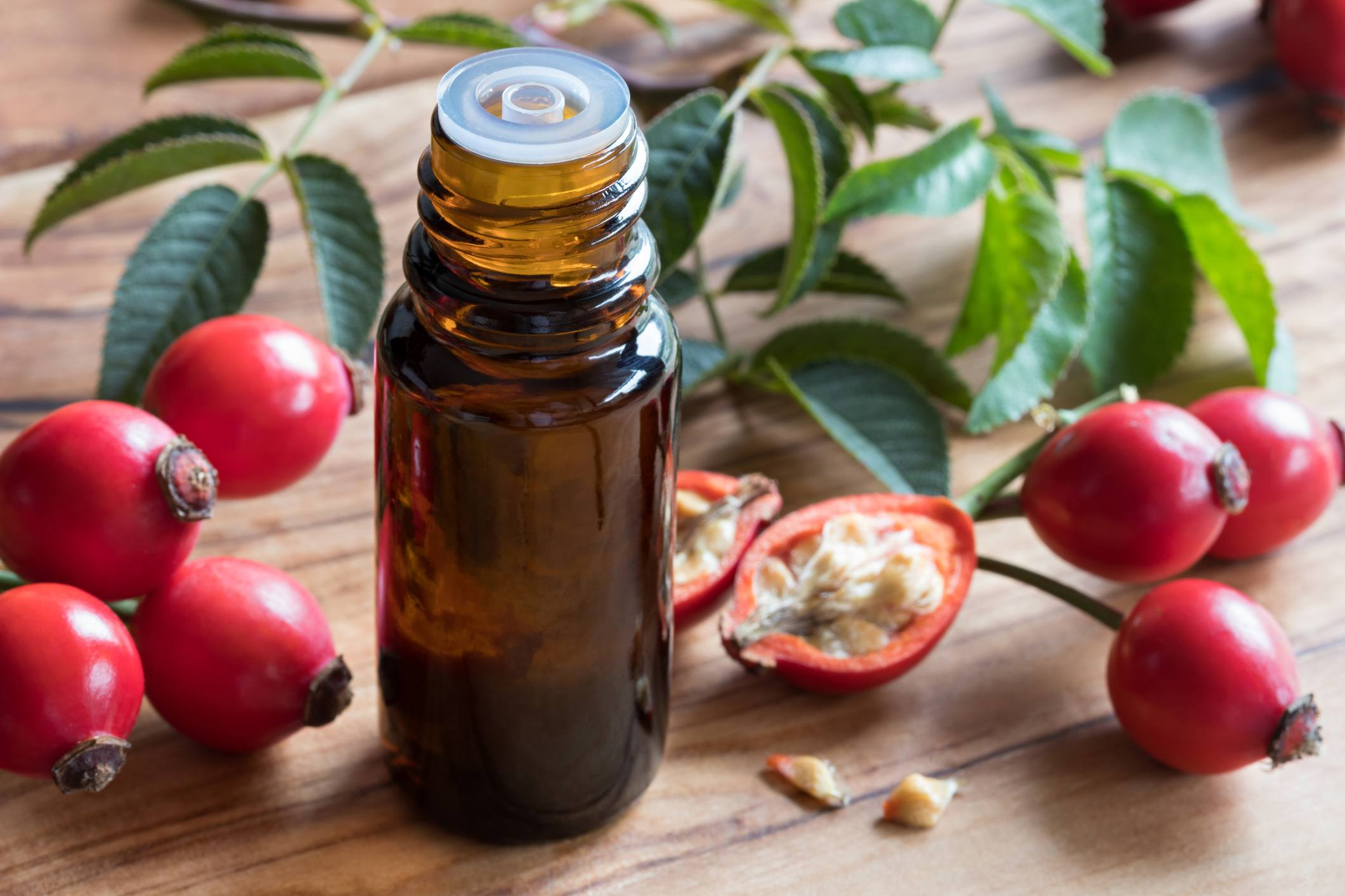 A bottle of rosehip seed oil