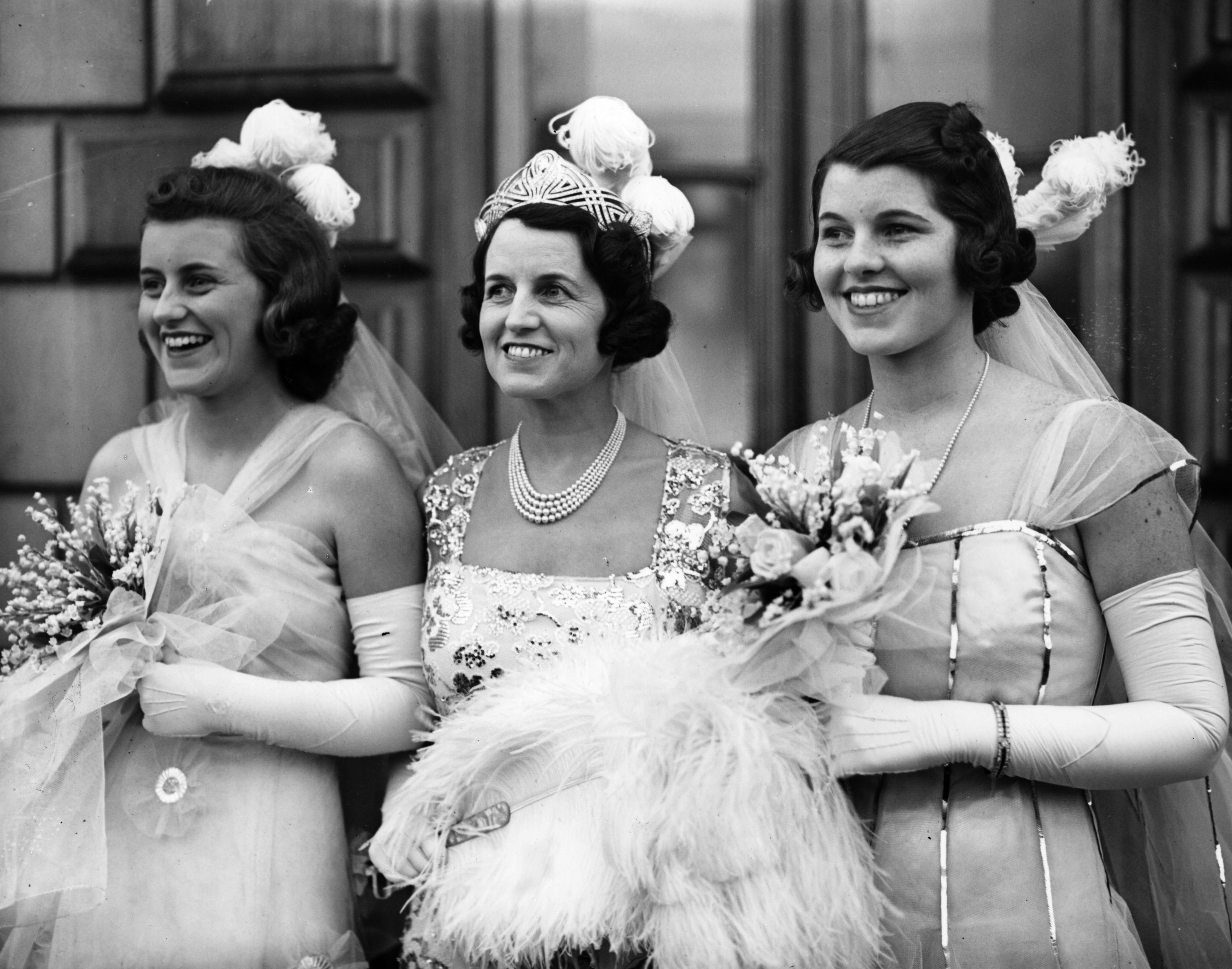 Rose Kennedy (centre), wife of multi-millionaire and US ambassador to Britain Joseph Kennedy, and two of her daughters, Kathleen Kennedy (Marchioness of Hartington) and Rosemary Kennedy