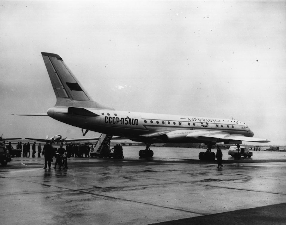 A Russian Tupolev TU-104 jet liner, the first Soviet civil jet