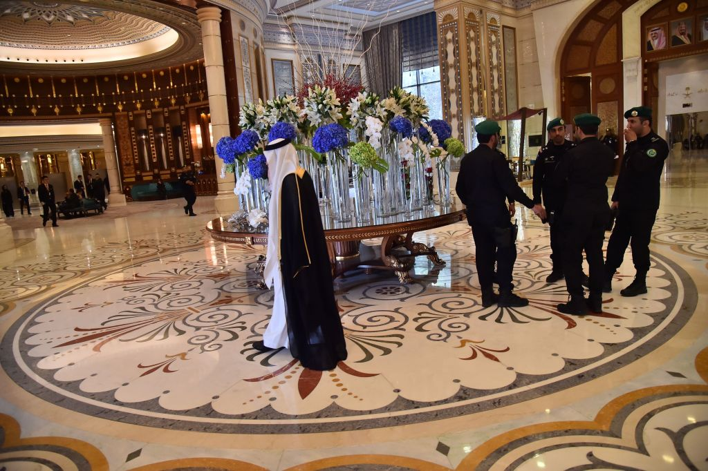 The hallway of the Ritz-Carlton Hotel in the Saudi capital Riyadh