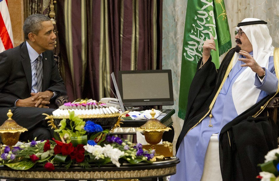 US President Barack Obama meets with Saudi King Abdullah at Rawdat Khurayim, the monarch's desert camp