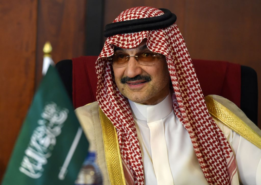 Saudi Arabian royal Al-Waleed Bin Talal bin Abdulaziz al Saud looks on during a meeting with Sri Lankan Foreign Minister Ravi Karunanayake in Colombo