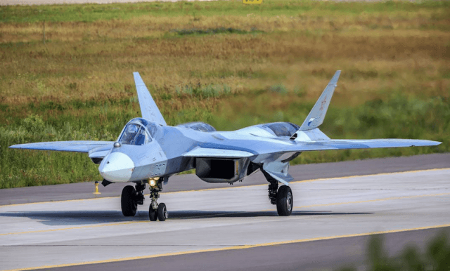 A SU-57 at an airport.